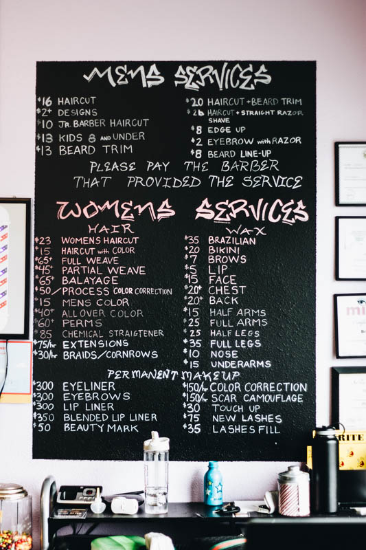 Graffiti Hair Salon list of services