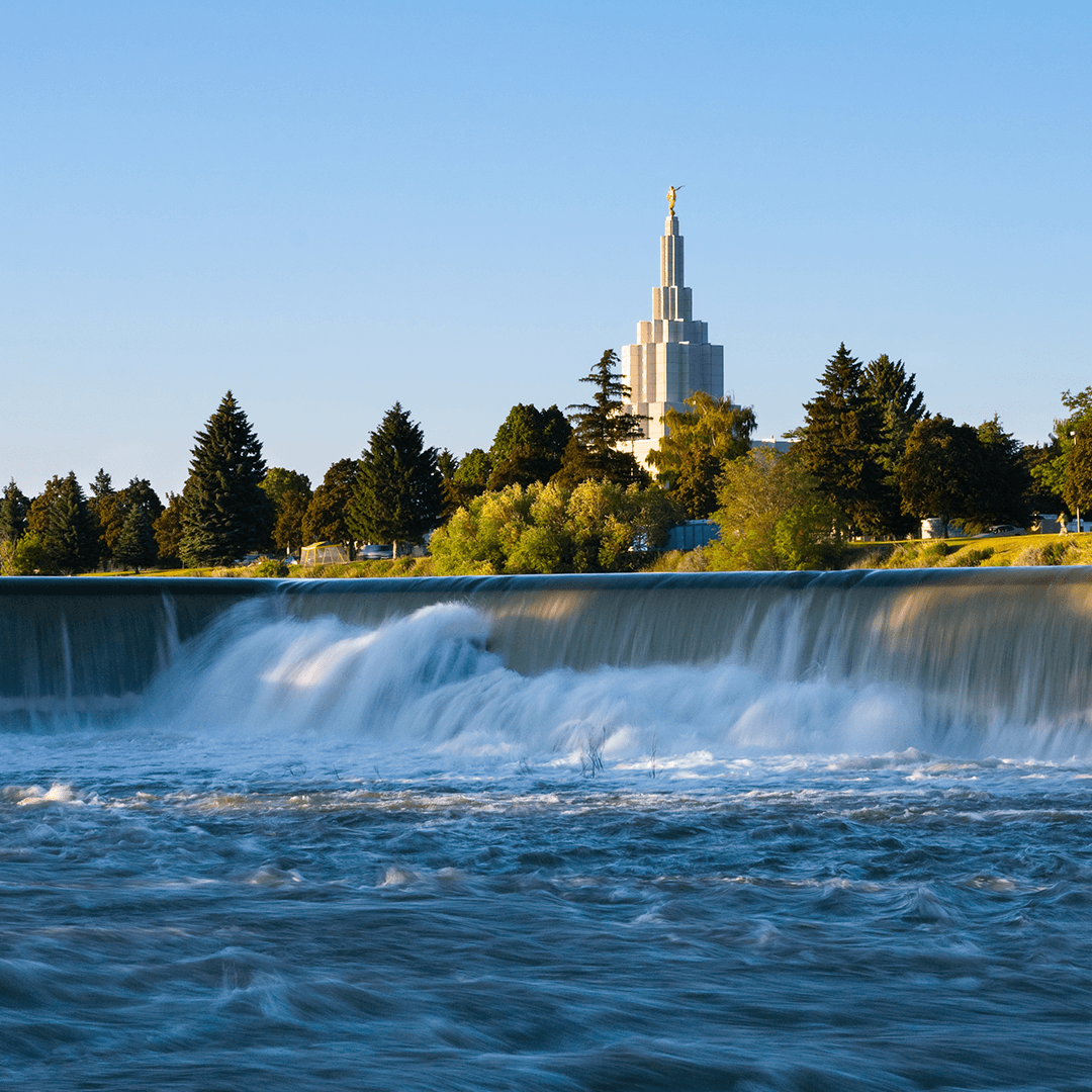 The falls in Idaho Falls near the LDS temple