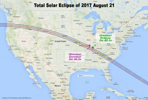 The path of totality of the total solar eclipse.