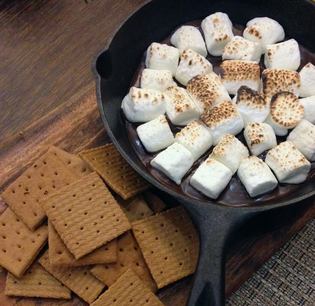 Making s'mores is one of the best indoor date ideas.