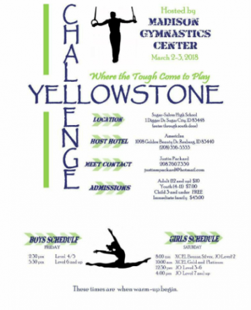 The Yellowstone Change, a USAG-sanctioned gymnastics competition, will take place March 2-3.