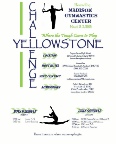 The Yellowstone Challenge, a USAG-sanctioned gymnastics competition, will take place March 2-3.
