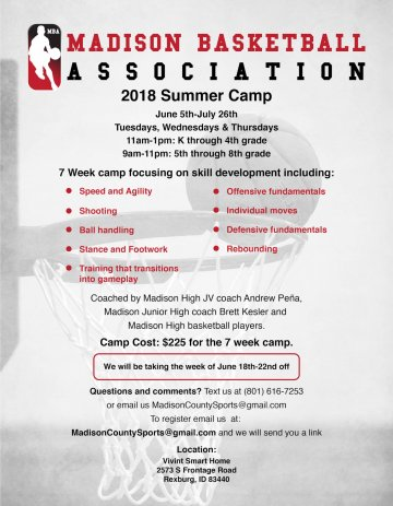 Flyer for Madison Basketball Association