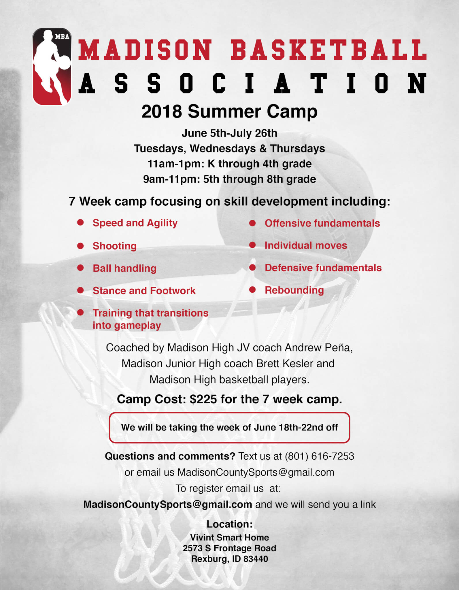 flyer for the Madison Basketball Associaiton
