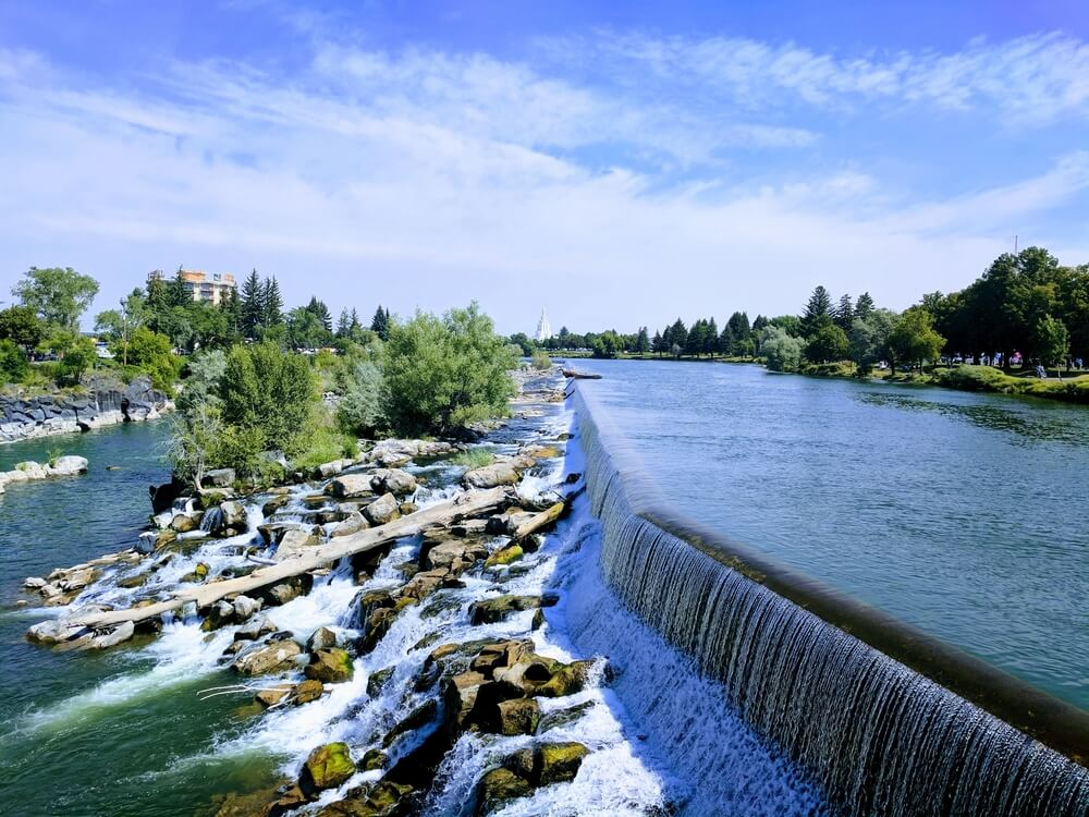 Idaho Falls is one of the waterfalls near Rexburg.