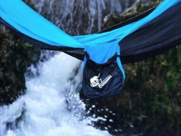 Trunk Outdoors hammock over river