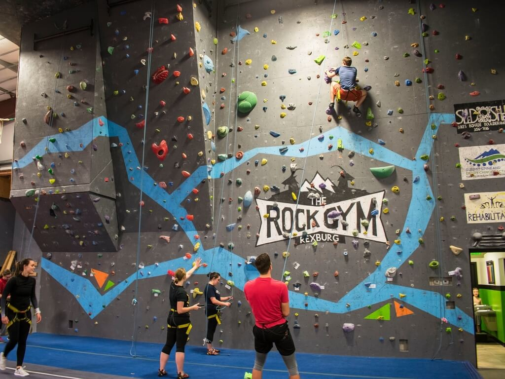 People rock climbing at The Rock Gym in Rexburg
