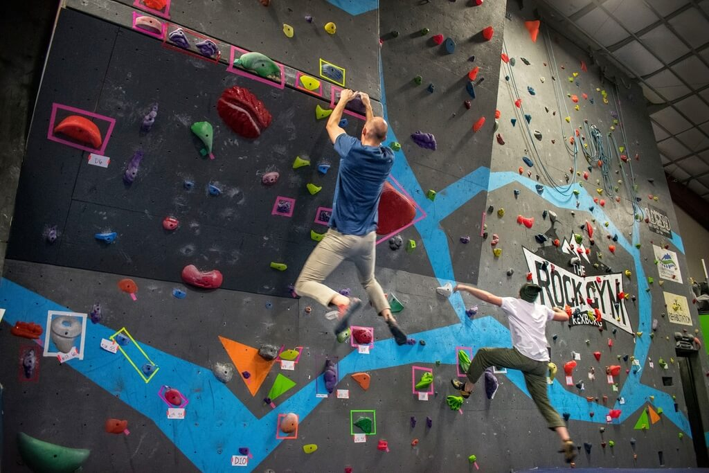 People rock climbing at the Rock Gym in Rigby
