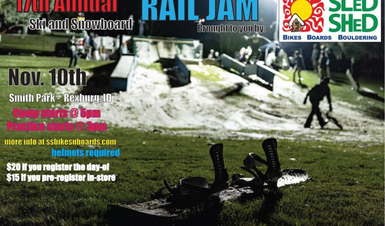 Ready to shred at the 17th annual Sled Shed Rail Jam?